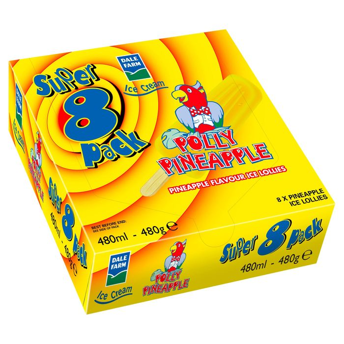 Dale Farm Polly Pineapple Ice Lollies Super 8 Pack 480ml