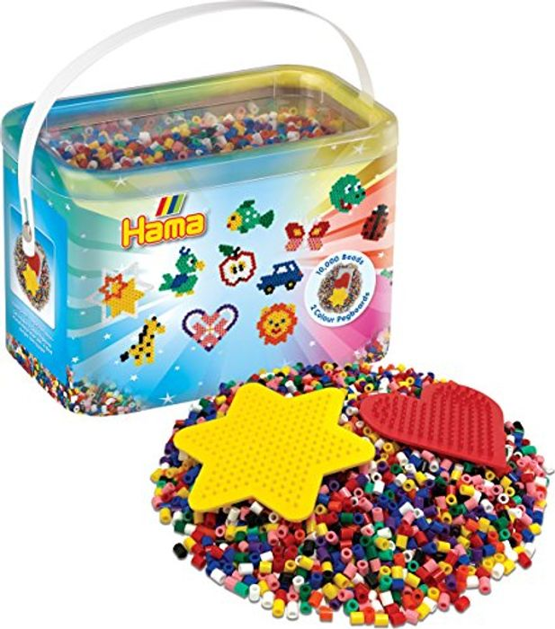 Hama 10, 000 Beads and 2 Coloured Pegboards Bucket