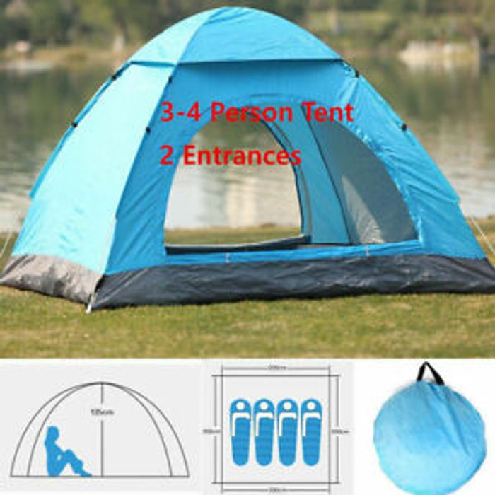 Large 4 Man Person Auto Pop Up Tent Family Camping Hiking Beach Instant Shelter
