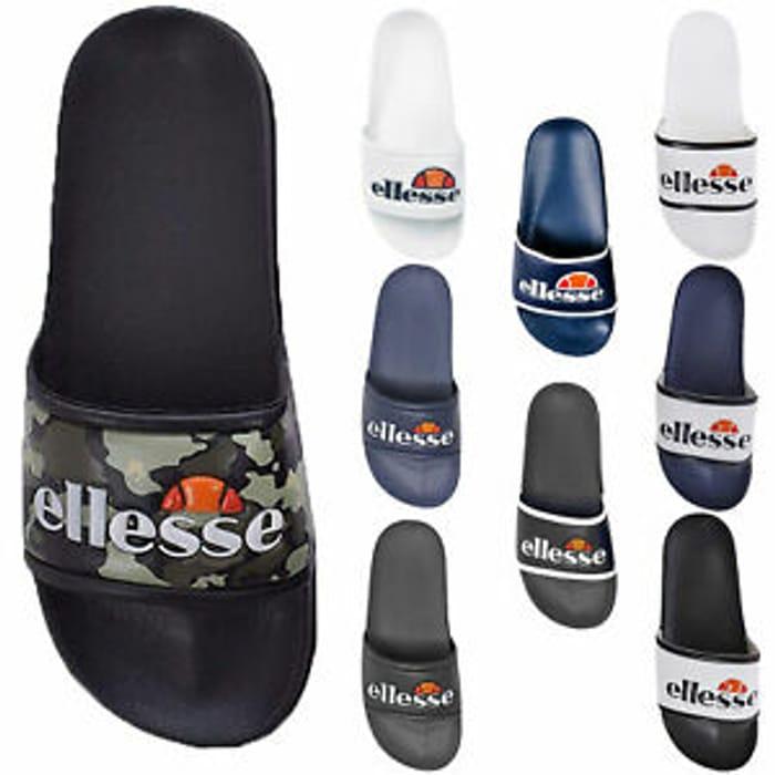 Details about Ellesse Slides Sandal Flip Flop Navy Black White Mens Womens