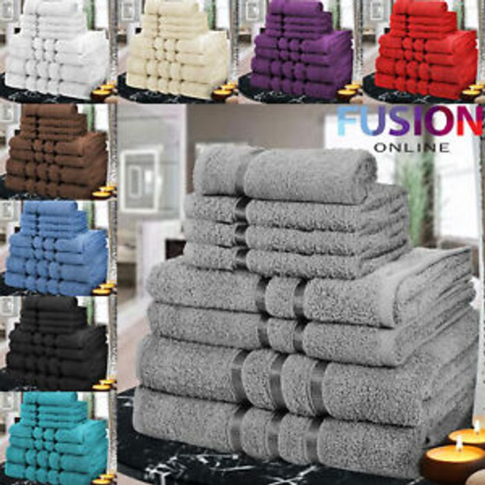 Details about Luxury Towels Bale Set Satin Stripe 100% Egyptian  8 Pc