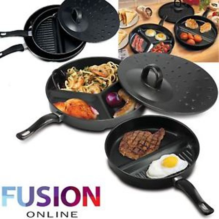 Details about Frying Pan Non Stick Divide Wonder Combo Divided Set 3 in 1