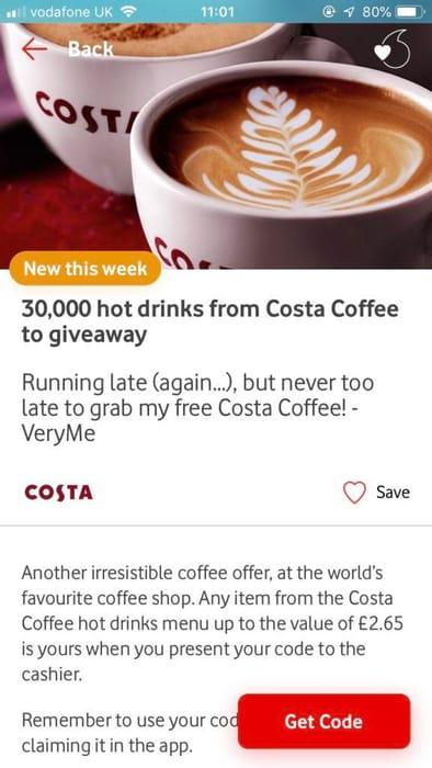 Free Costa Drink on veryMe App on Vodafone