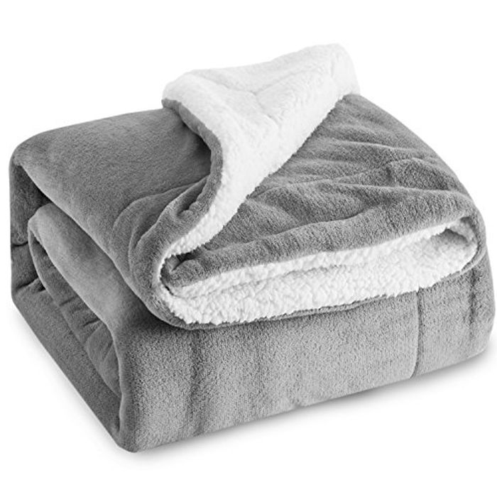 Sherpa Throw Blanket Silver Grey Travel/Single Size