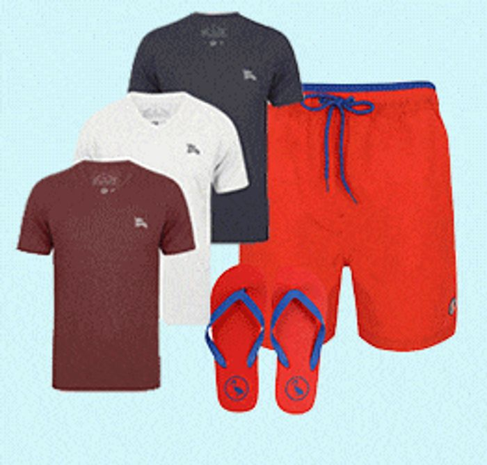 Tokyo Laundry | Swim Shorts, Flip Flops + 3 T-Shirts for £20 Mix & Match