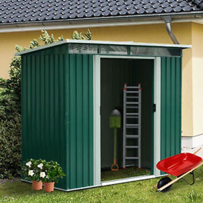 Details about Outsunny 8 X 4FT Metal Garden Shed Outdoor Storage Container
