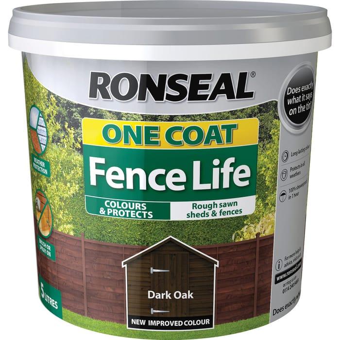 Ronseal One Coat Fence Life 5L Dark Oak - 30% Off