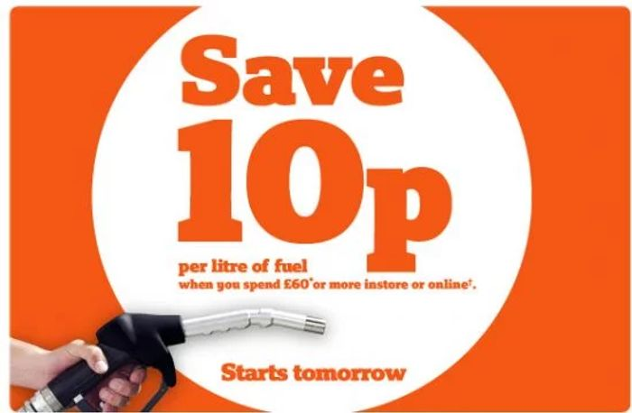 10p off per Litre of Fuel When You Spend £60 in Store from 1st May - 7th May