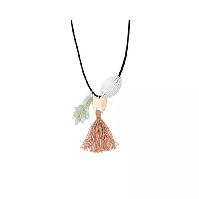 Wallace Petal Tassel & Fluted Bead Cord Necklace