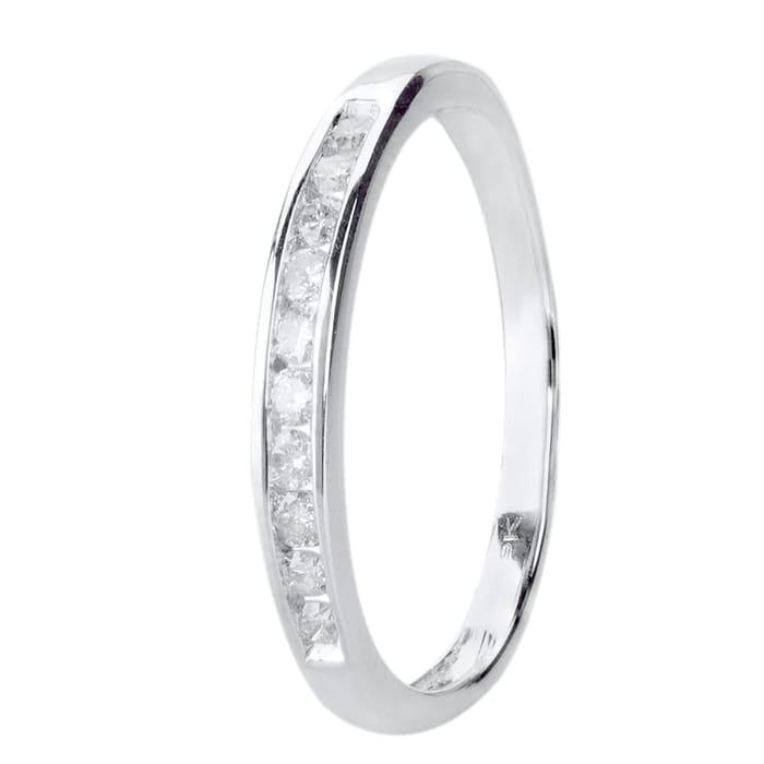 9ct White Gold 0.20ct Diamond Channel Set Half Eternity Ring - 51% Off!