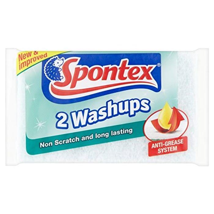 Spontex Non Scratch Washups Sponge Scourers - Pack of 6, Total 12