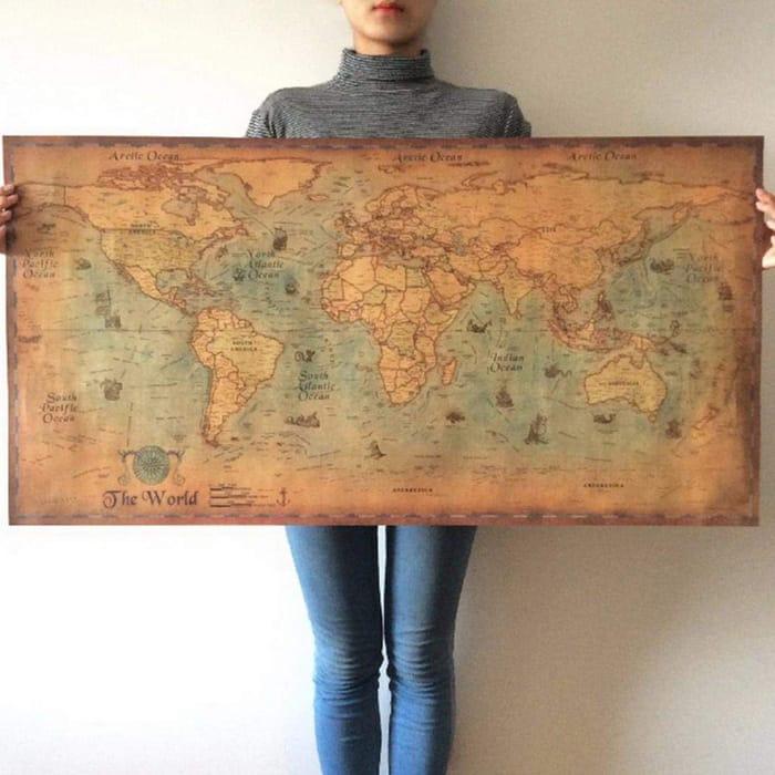 Kloius Nautical Ocean Sea World Map Retro Art Paper Painting Home Sticker