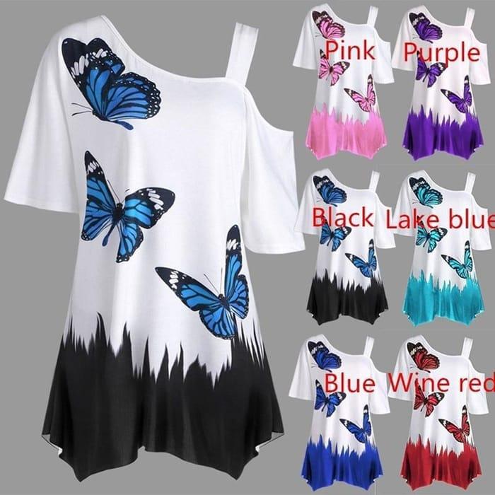Women Fashion Butterfly Tunic T-Shirt Loose Blouse Tops
