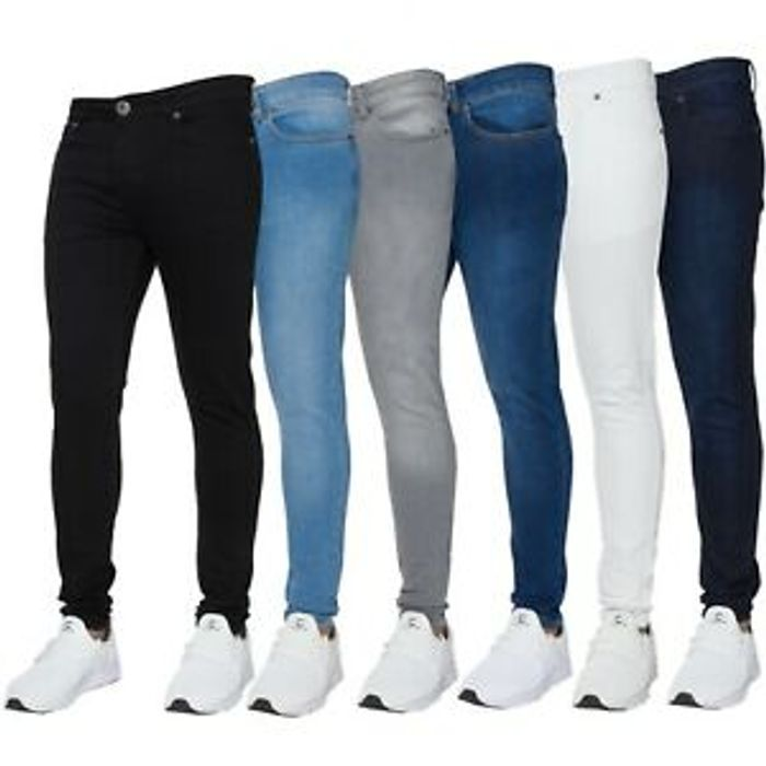 Details about New ENZO Mens Super Skinny Stretch Comfort Denim Jeans All Sizes