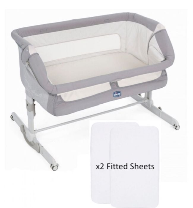 Chicco next 2 Me Dream Crib with 2 Fitted Sheets - Graphite Grey