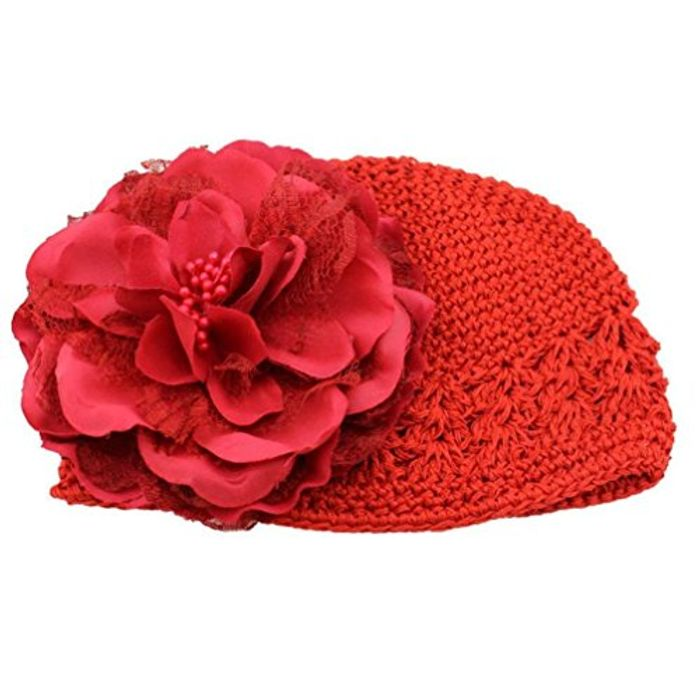 Flower Toddlers Infant Baby Girl Lace Hair Band Headband Headwear Hat (Red)