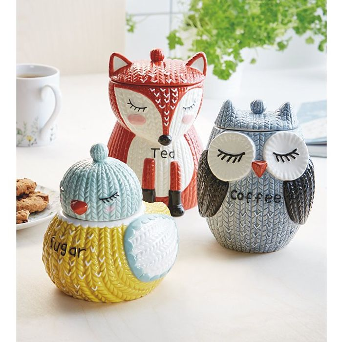 Knit-Effect Bird-Shaped Sugar Canister