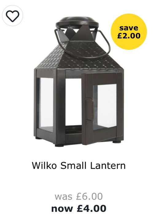 Wilko Small Lantern