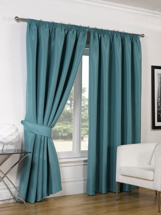 Faux Silk Blackout Curtains and Tiebacks.