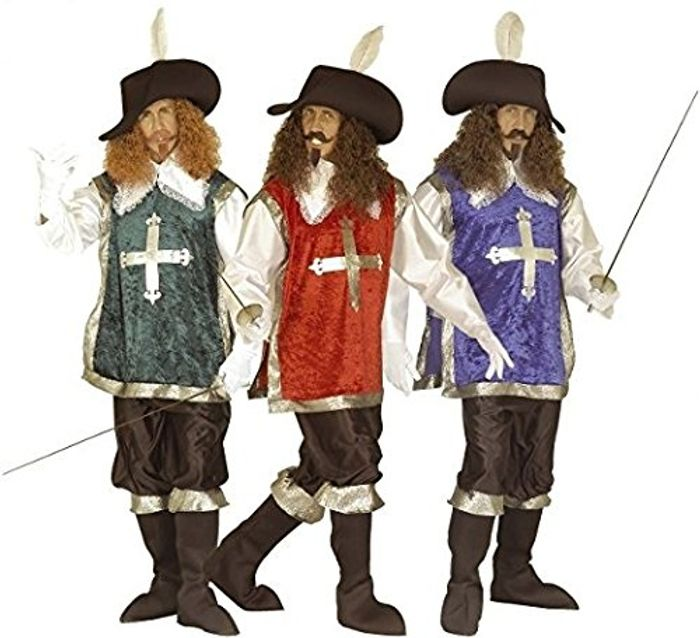 Mens Musketeer Red/Grn/Blue Costume at Amazon