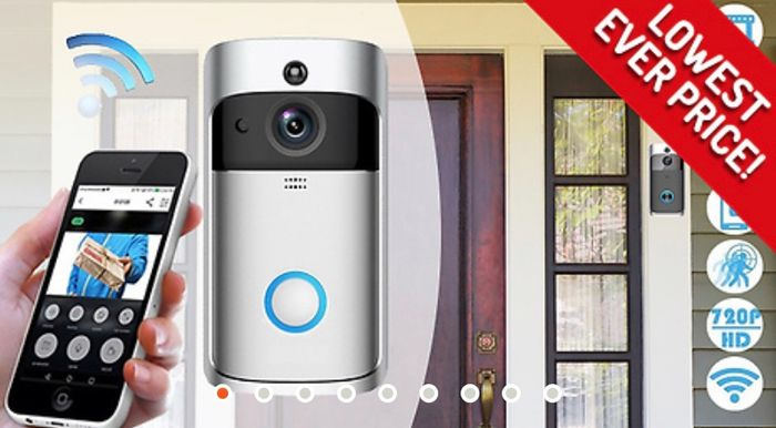 3-in-1 Smartphone-Connected Video Doorbell with Intercom Optional SD Card