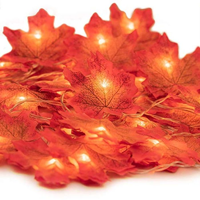 Queta 5M 50LED Maple Leaves Fall Garland Fairy String Light,