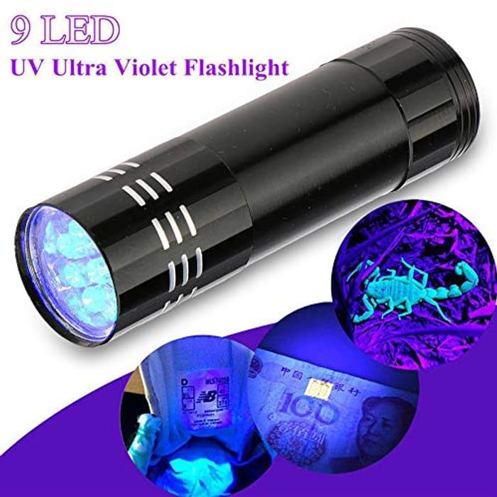 Ultra Violet 9 LED Black Flash Light Torch