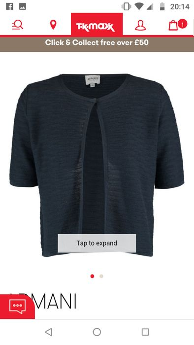 Armani Prussian Blue Cashmere Cardigan, Sizes 4,6,8 Available