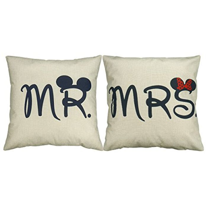 Set of 2 Pcs Mr and Mrs Mickey Mouse Cushion Cover