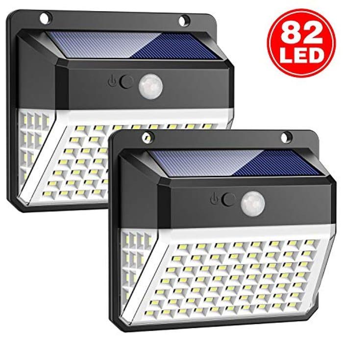 Lightning Deal + Voucher 82 LED Solar Motion Sensor Security Lights