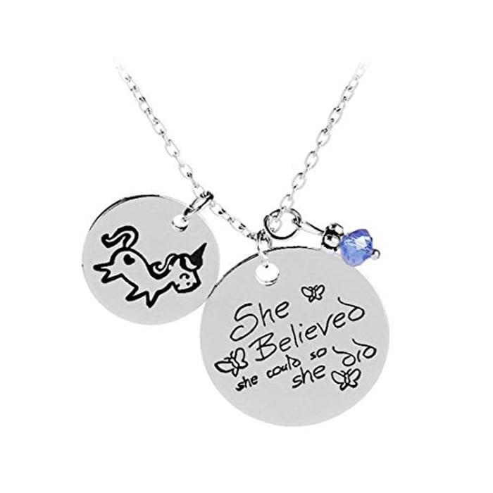 She Believed Unicorn Necklace