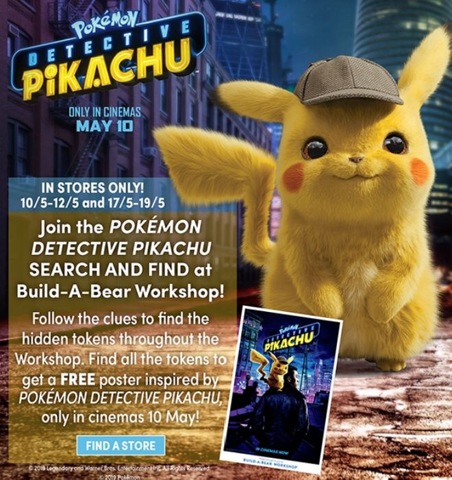 Free Detective Pikachu Poster @Build a Bear Workshop in Stores