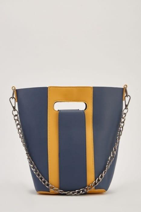 Two-Tone Small Bucket Bag