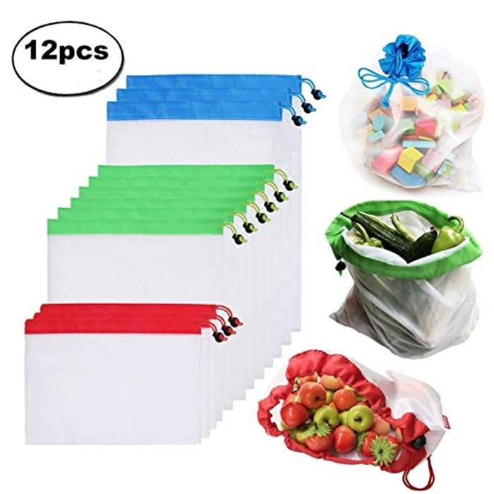 12pcs Reusable Mesh Produce Bags Washable Eco Friendly