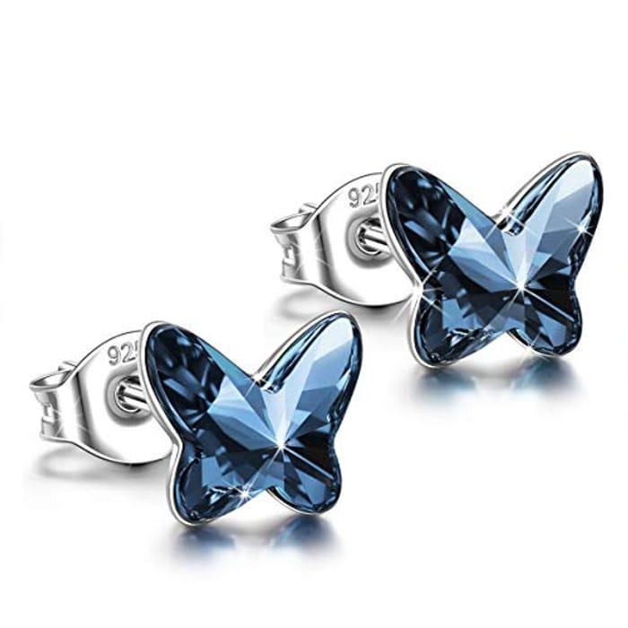 Amazon - Butterfly Sterling Silver Stud Earrings