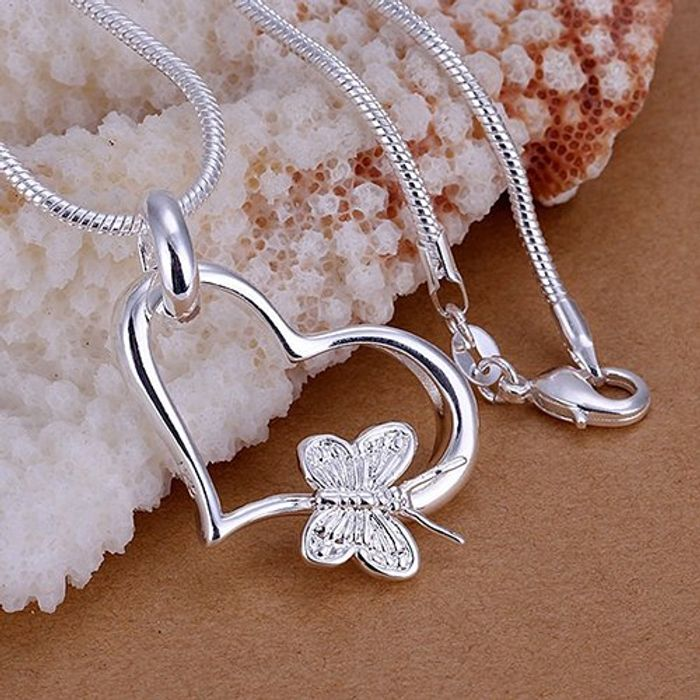 Love Heart Butterfly Pedant Necklace for Women Jewelry Gift