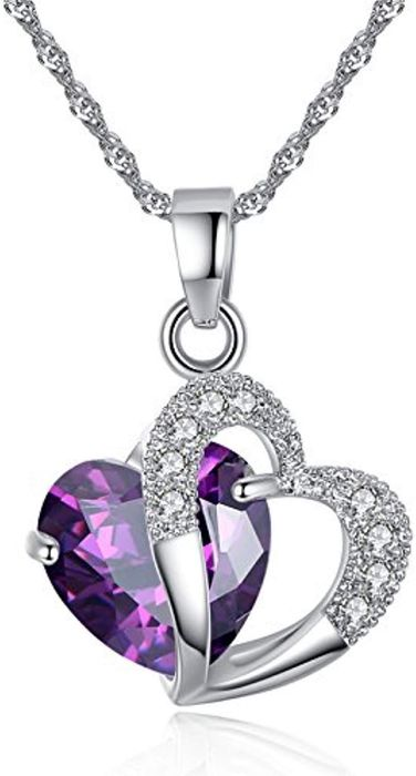Sterling Silver Amethyst Purple Heart Crystal Pendant Necklace at Amazon
