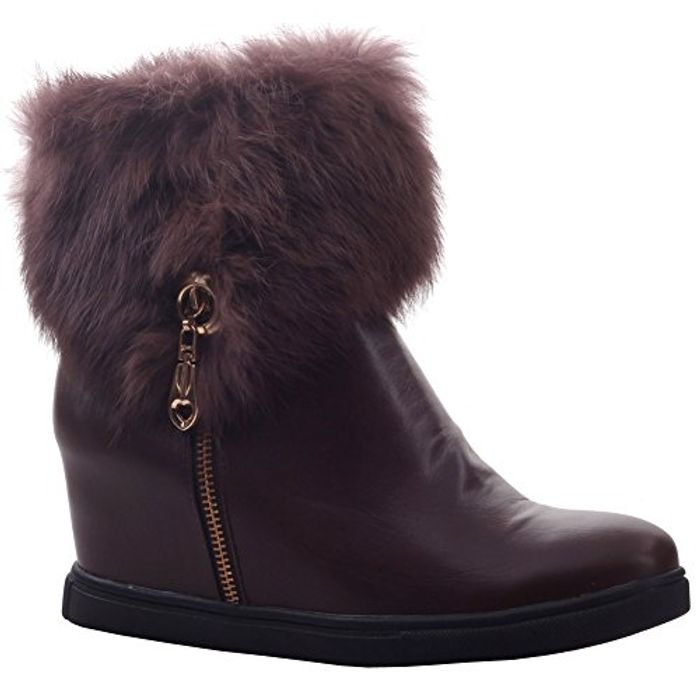 Unze Womens Moozie Shearling Zipped Winter Ankle Boots Only £5