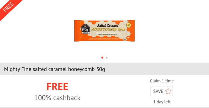 Free Mighty Fine Salted Caramel Honeycomb Bar after Cashback.
