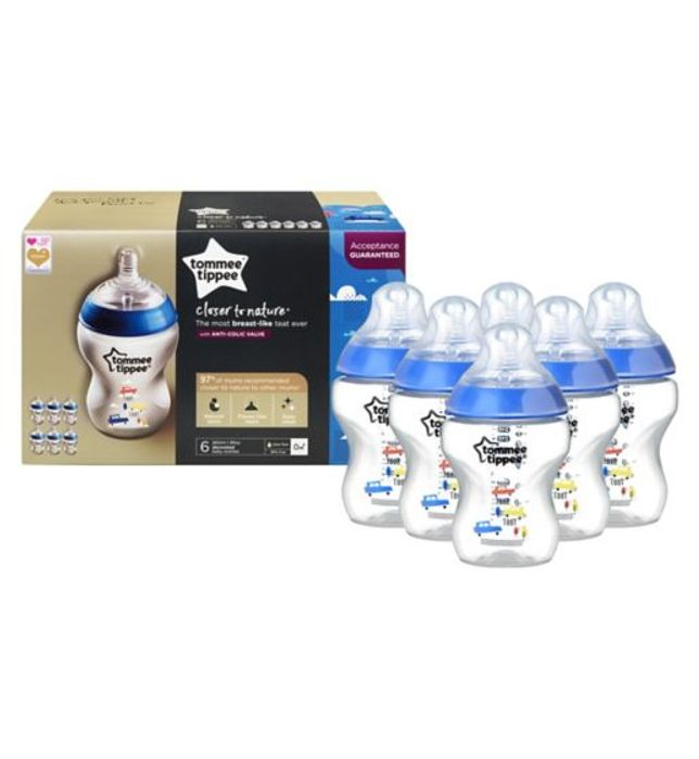Tommee Tippee Closer to Nature Blue 6 Pack Feeding Bottle