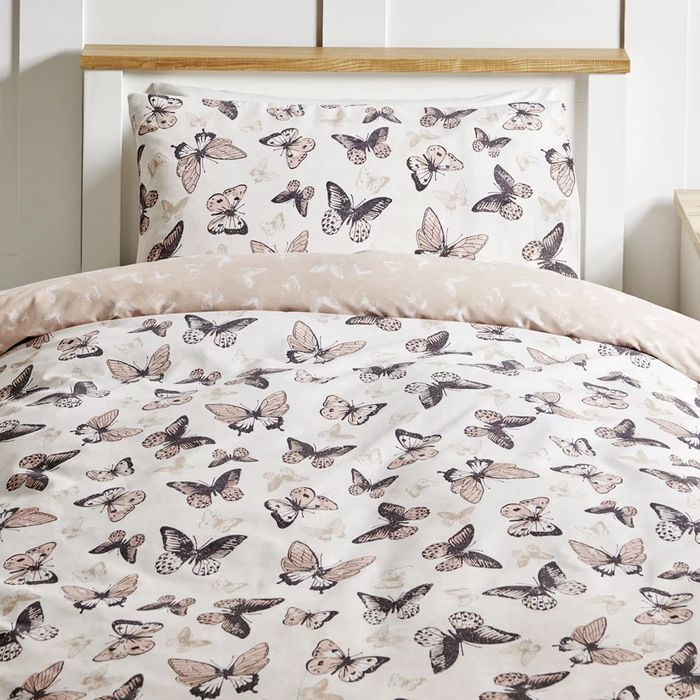 Wilko Treasured Butterfly Reversible Easy Care Single Duvet Set