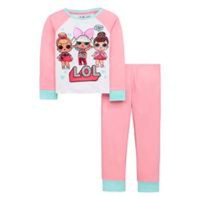 Girls Glow in the Dark Pyjama Set - Multi Coloured