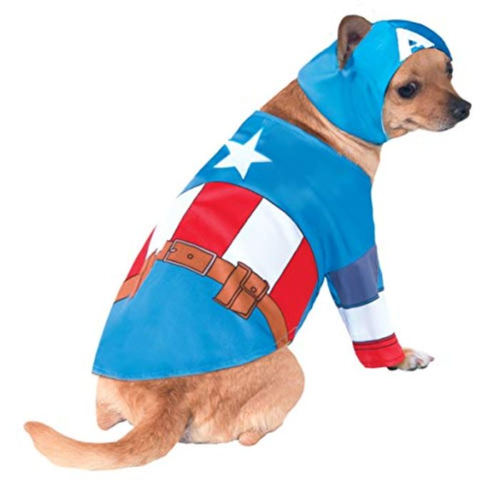 Captain America Dog Costume, Small and XL - Limited Stock Add-on Item