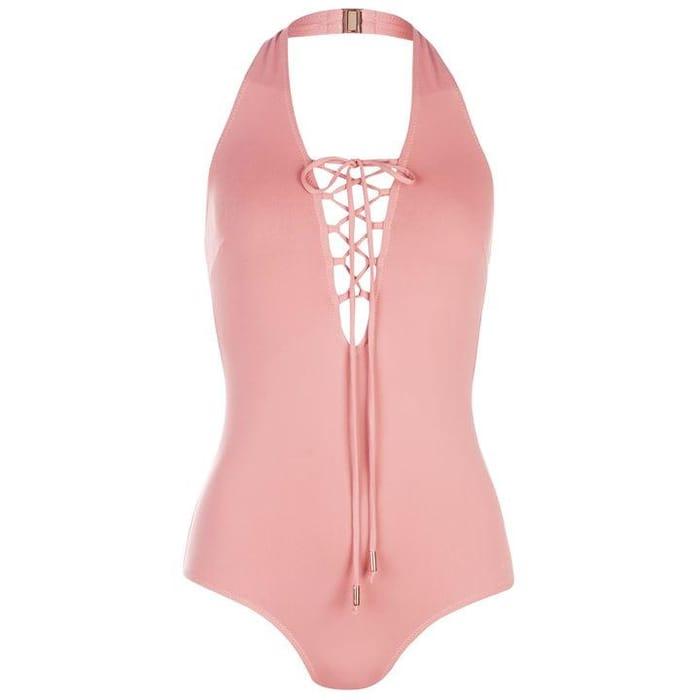 Blackseal Cross Front Swimsuit (Pink Blush)