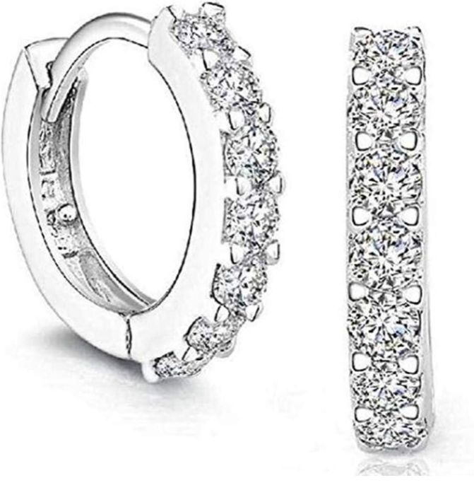 Platinum Filled sterling silver with Diamond Crystal Hoop Earrings Only £1