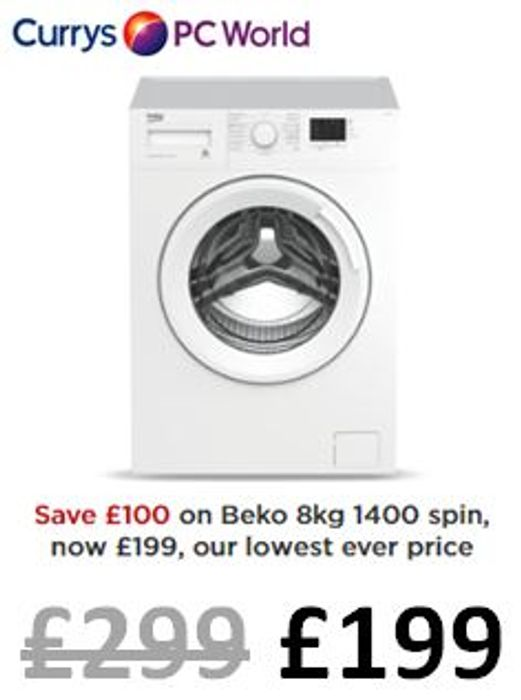 SAVE £100! BEKO 8kg 1400 Spin Washing Machine CHEAPEST EVER PRICE!