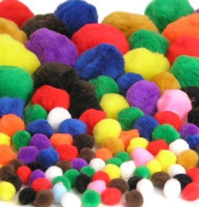 100pk Fluffy Pom-Poms FREE DELIVERY