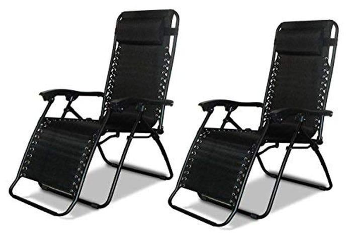 2 X Textoline Reclining Garden Chair Beach Sun Lounger Recliner Chairs