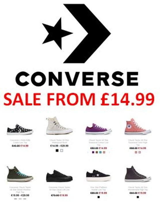CONVERSE SALE - Get your summer trainers HALF PRICE OR BETTER!