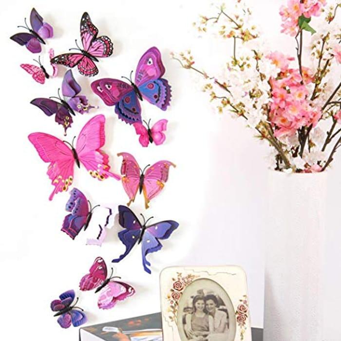 12Pcs Butterfly Wall Decor for Wall-3D Butterflies Wall Stickers